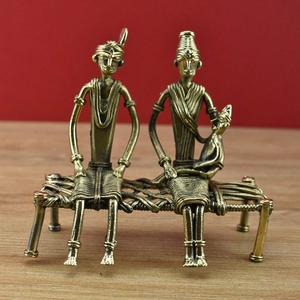 Handmade Brass Dhokra Golden Couple with Baby