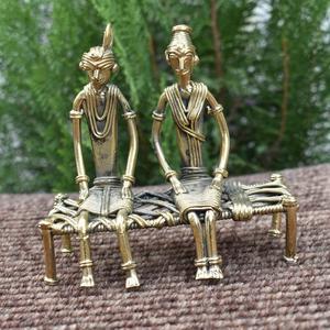 Handmade Brass Golden Couple Figurine