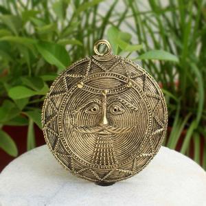Brass Dhokra Wall Mountable Moon Mask