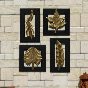 Wall Mounted Brass Plated Leaf Frame – Set of 4