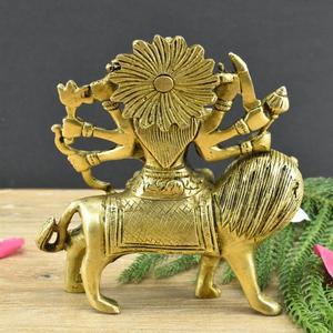 Brass Goddess Durga Maa Sitting on Lion