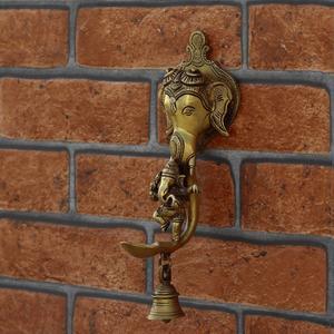 Brass Lord Ganesha Hanging with Diya and Bell